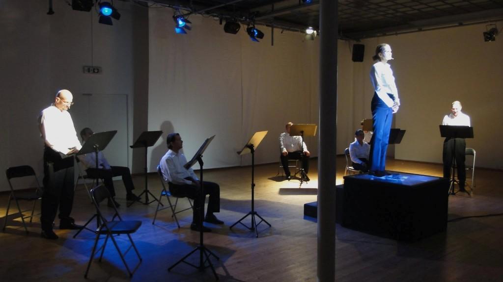 """WORT_ensemble 2012: Rainer Stelzig, Dina Kabele & Rudi Larsen in """"Die Ermittlung"""""""