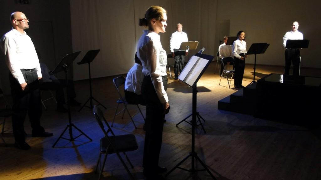 """WORT_ensemble 2012: Rainer Stelzig, Dina Kabele, Marcus Strahl, Natascha Shalaby & Rudi Larsen in """"Die Ermittlung"""""""