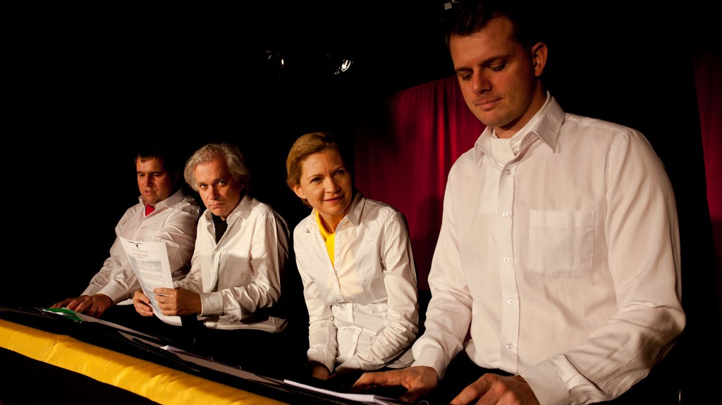 """WORT_ensemble 2012: Gregor Viilukas, Michael Schefts, Dina Kabele & Philipp Limbach in """"Die letzten Tage der Menschheit"""""""